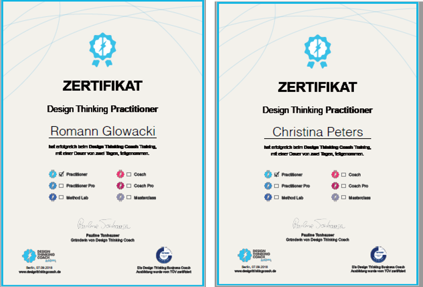 Zertifikate Design Thinking Practitioner